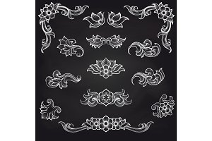 Baroque engraving leaf scroll design