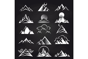 Mountain silhouettes on blackboard background
