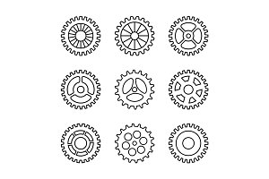Thin line gears icon set
