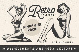 Retro Halftone Pinup Girl Pack