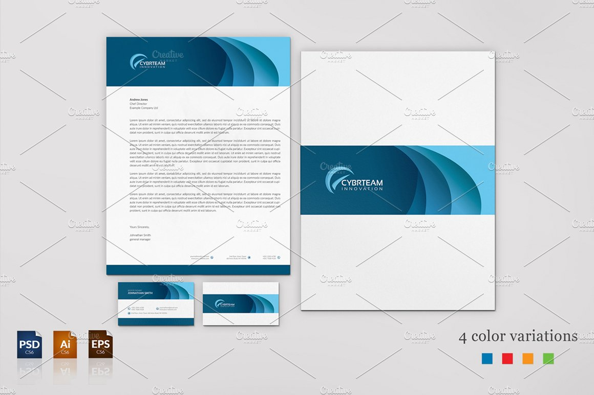 Corporate Business Card & Letterhead ~ Stationery Templates ...