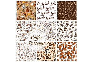 Coffee and desserts seamless patterns set