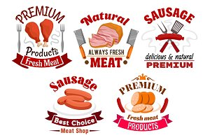 Butchery meat food and sausages emblems