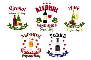 Alcohol drinks, cocktail bar emblems set