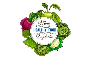 Healthy vegetable food cabbages poster