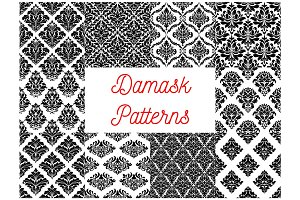 Damask ornate tracery seamless patterns set