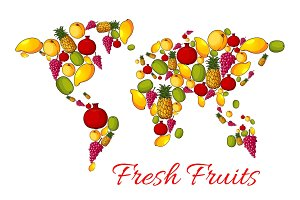 World map of vector fresh fruits