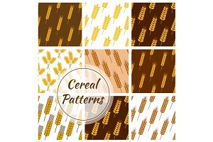Wheat cereal grain, rye ears seamless patterns set