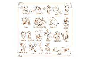 Pasta and macaroni sorts sketch vector icons