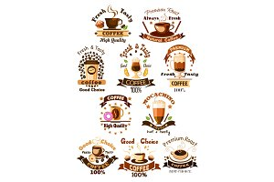 Coffee cafe, cafeteria vector emblems set