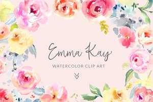 Emma Kay Watercolor Clip Art Flower