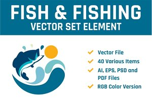 Fish & Fishing Vector Set Element