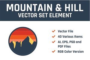 Mountain & Hill Vector Set Element