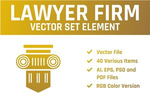 Law Lawyer Firm Vector Set Element