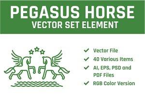 Pegasus Horse Vector Set Element