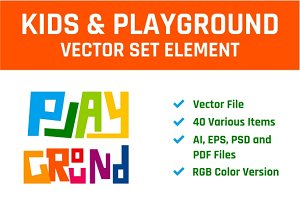 Kids & Playground Vector Set Element