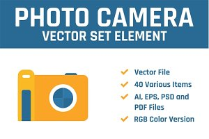 Camera Photograph Vector Set Element