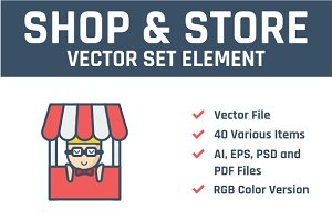 Store & Shopping Vector Set Element