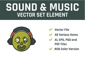 Sound & Music Vector Set Element