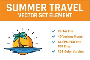 Summer Travel Vector Set Element