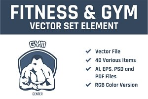 Fitness Gym Vector Set Element