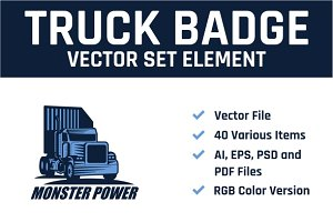 Truck Badge Vector Set Element