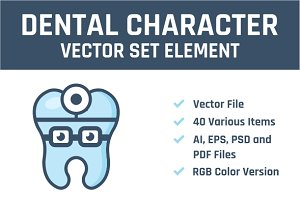 Dental Character Vector Set Element