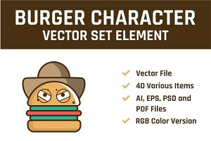 Burger Character Vector Set Element