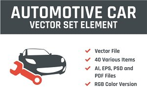 Automotive Car Vector Set Element