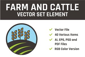Farm & Cattle Vector Set Element