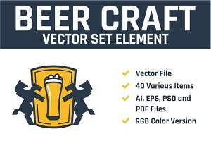 Beer Craft Vector Set Element