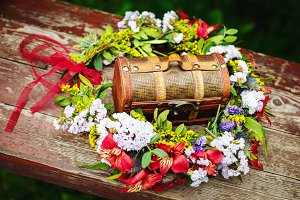 Wooden chest box in flower