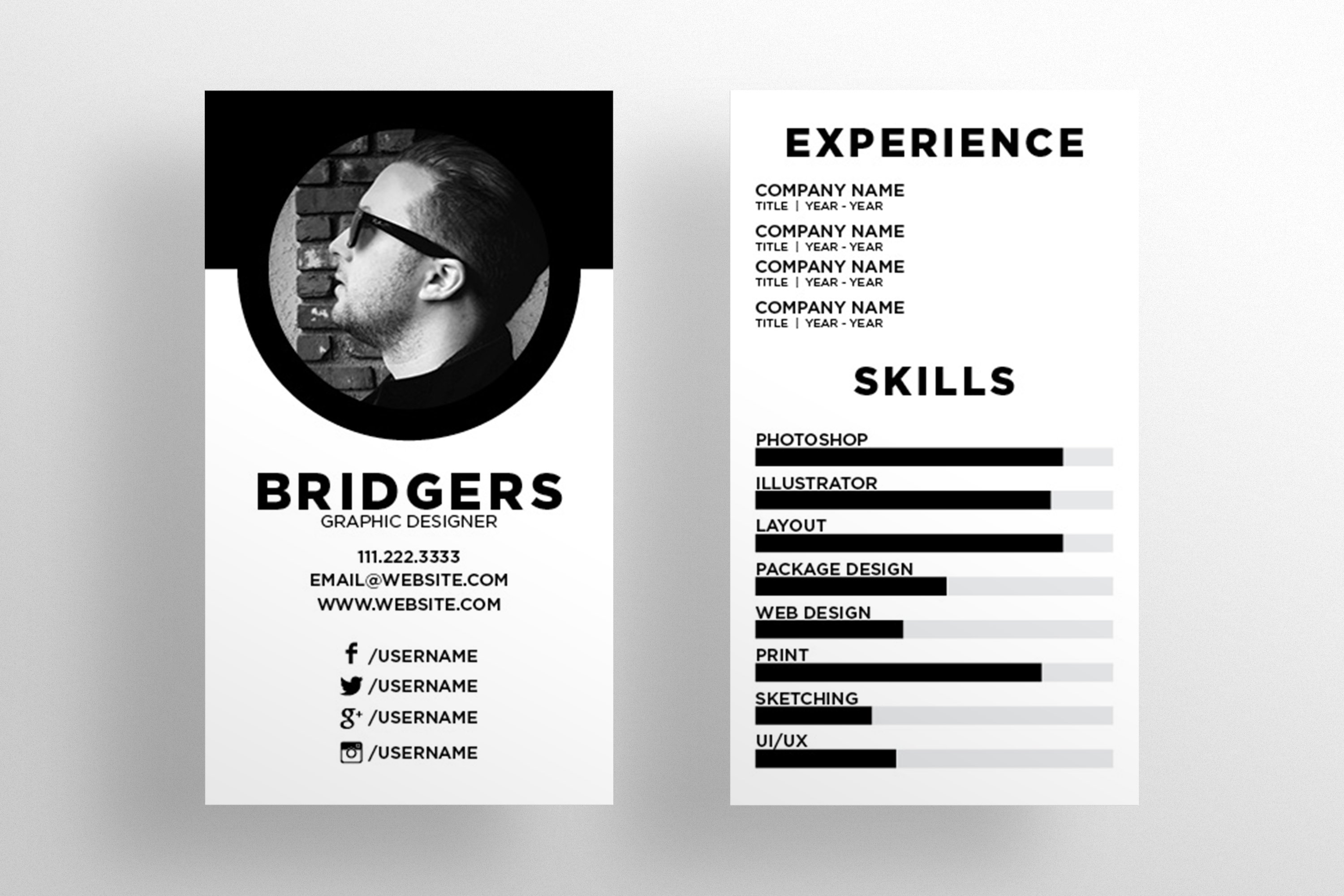 The resume business card template business card templates the resume business card template business card templates creative market reheart Gallery