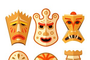 Different wooden voodoo masks