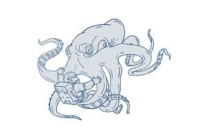 Giant Octopus Fighting Astronaut