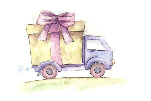 free delivery truck. hand drawn wat…