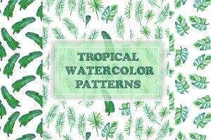 Vector seamless watercolor palms