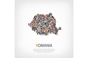 people map country Romania a vector