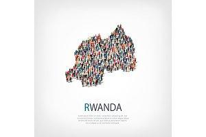 people map country Rwanda vector