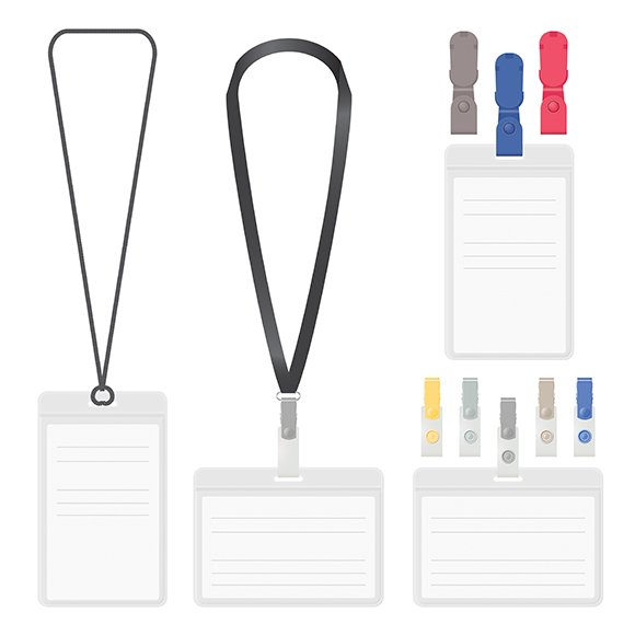 Badge clip lanyard template graphic objects for Work badges template
