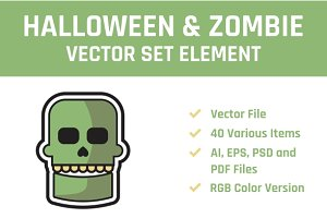 Halloween Zombie Vector Set Element