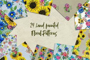 24 hand painted floral patterns