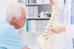 Doctor explaining anatomical spine to senior man