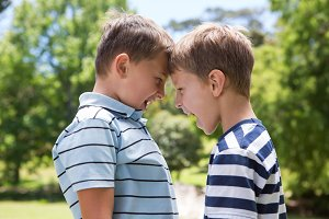 Little boys having a fight