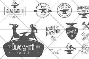 Set of vintage blacksmith logos