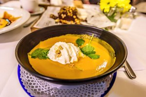 Fresh Pumpkin soup at a restaurant Barcelona, Spain