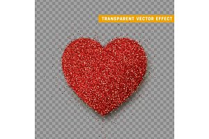Valentines Day heart isolated, transparent vector effect background.