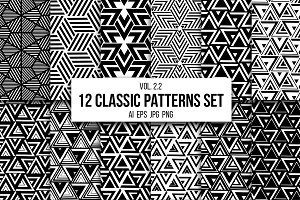 12 geometric seamless patterns set