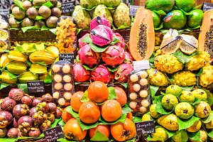 Fresh exotic Fruits at the Market