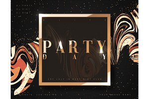 Party day background gold luxury poster.